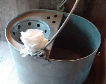 ENGLISH SCHOOL BUCKET, galvanised metal pail, tin flower pot, rustic garden planter, farmhouse antique, shabby chic industrial decor