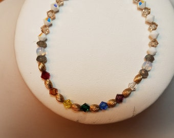 Bracelet Swarovski Crystal Beads with Chakra Colors and 14k Gold Filled Findings