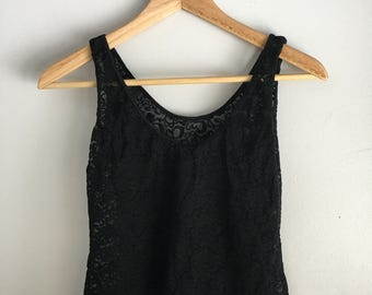 Vintage Black Lace Natori Tank Top | Medium | Vintage Women's Clothes