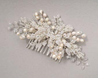 EVELYN   Bridal pearl and crystal hair comb, Pearl wedding hair accessory, Pearl and crystal headpiece