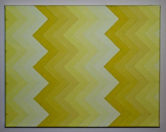Yellow Chevron Monochromatic Gradient Painting