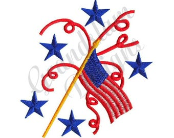 July 4Th Flag - Machine Embroidery Design