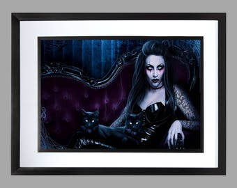 Gothic Wall Art . A3 size Print , Graphic . Home Art . Poster . 16 x 11 inches . Goth . Vampire