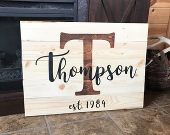 Custom Last Name Wood Sign Wedding Anniversary Last Name Gift Sign