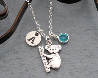 Koala Necklace, Personalized Koala Necklace, Koala Initial Necklace, Koala Letter Birthstone Necklace, Koala Jewelry, Koala Gifts, Silver