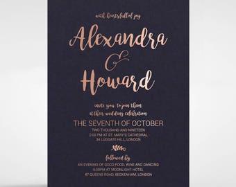Contemporary Wedding Invitation, Gorgeous Calligraphy & Foil Finish - Black 116092