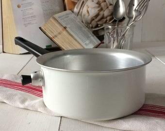 Vintage aluminum double boiler.French vintage aluminum Bain Marie, chocolate sauce, fondue maker.Retro Kitchen, Retro Cookware,Cooks gift