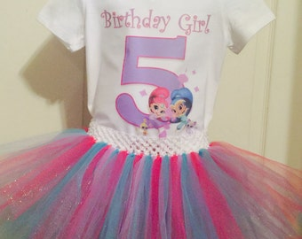 Shimmer and Shine personalized top, shirt all sizes with matching tutu 12m, 18m, 2T, 3T, 4T, 5T, 6, 7/8, 10/12