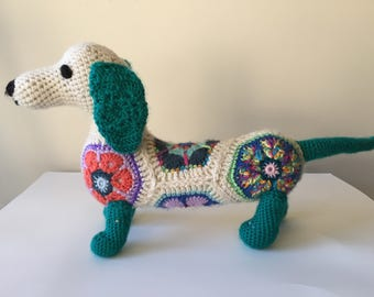 Crocheted  Dachshund, Stuffed Dachshund, African Flower,