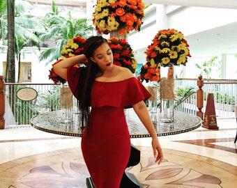 Burgundy off the shoulder dress