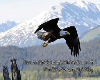 Canvas Bald Eagle with Quote on Canvas 16x20 If I were an animal I'd probably be a bald eagle, since I'm already bald and love to fish, but