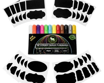 12 Pack Liquid Chalk Markers w/ free chalkboard labels.  Great for kids, crafts, office, and home.
