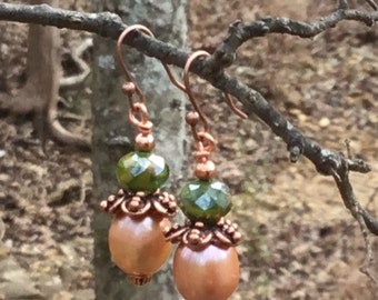 Freshwater Pearl and Copper Earring