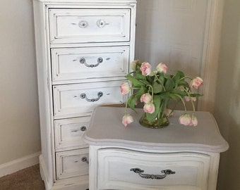 Distressed White Shaby Chic Nightstand *SOLD*