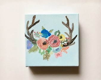 Floral Antlers- Canvas painting!