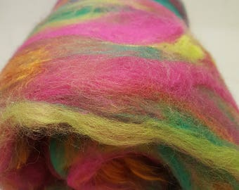 Carded Art Batts - 'Paint The Whole World With A Rainbow' - For Spinning & Feltmaking - 76g