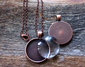 """10 PENDANT Making SETS Blank 1 inch Round Pendant Trays, Glass Domes, 18"""" Chain - 1 inch COPPER, Photos Charms"""