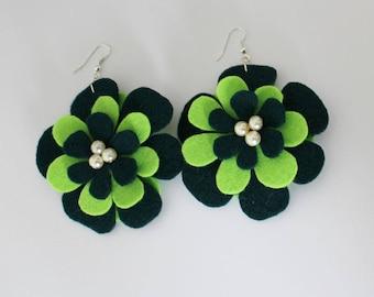 Green Earrings - Green Flower Earrings - Statement Earrings - Felt Earrings - Ready to ship