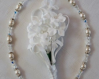"""Swarovski White Pearl & Clear AB Crystal Necklace,""""The """"Melissa"""" with Crystal Roundels and Sterling Silver Trigger Clasp/Wedding/Bridal/Gift"""