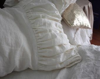 Set of 2 ivory linen ruffled shams-14 colors-linen pillowcases-linen pillow covers- Ruffled pillow covers-Available sizes #Ocean Dive#