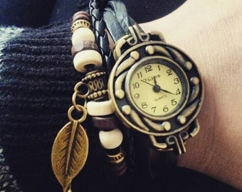 Leather watch bracelet