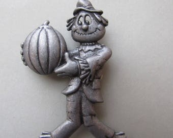Vintage Danecraft Scarecrow and Pumpkin Brooch - Pewter