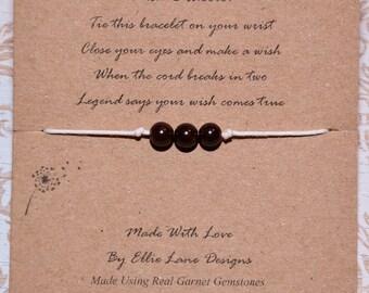 Wish/Friendship Natural Garnet Gemstones wish bracelet