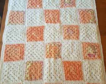 Backed and edged sparkle thread baby blanket