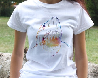 White Shark Tee - Shark T-shirt - Fashion women's apparel - Colorful printed tee - Gift Idea