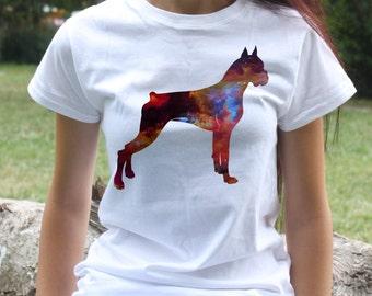 Boxer T-shirt - Dog Tee - Fashion women's apparel - Colorful printed tee - Gift Idea