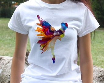 Ballerina t-shirt - Ballet tee - Fashion women's apparel - Colorful printed tee - Gift Idea