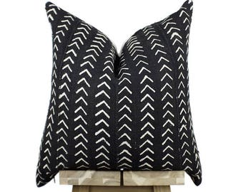 African Mudcloth Pillow Cover, Authentic Mud Cloth Pillow | Black and Off White | 'Isis'