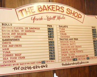 Customisable Hand Painted Shop Menu Sign