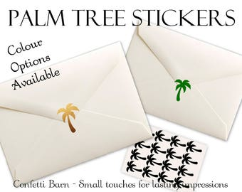 Palm Tree Stickers - Luau - Summer Party - Removable Vinyl - Party Invitations - Envelope Sealing Stickers - Planner Stickers #60