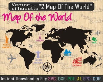 Map of the world etsy studio 2 world map vector svg world map graphic art cut world map digital instant download silhouette world map travelers map file dxf gumiabroncs Image collections