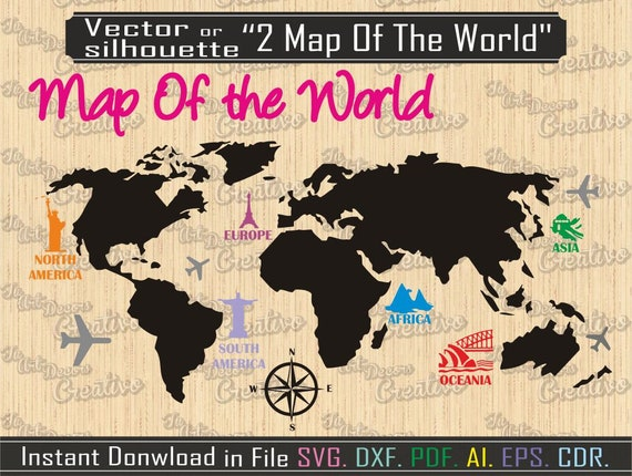 2 world map vector svg world map graphic art cut world map 2 world map vector svg world map graphic art cut world map digital instant download silhouette world map travelers map file dxf gumiabroncs Gallery