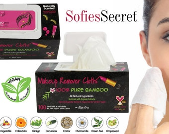 SofiesSecret Makeup Remover Wipes, Bamboo Makeup Remover Wipes, 100% Natural & Organic Wipes, Cruelty Free, Vegan - 100 Sheets