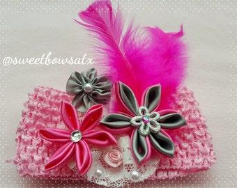 Handmade flowers headband for your baby girl! Pink, Grey.