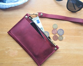 Waxed leather wallet, waxed leather purse, leather phone wallet, waxed leather phone case, waxed leather coins wallet, coins purse,