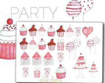 Party stickers, Planner stickers, Happy Planner, Erin Condren, Kikki-K, Hand Drawn