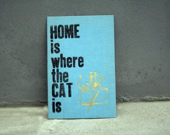 Original linocut HOME is where the CAT is