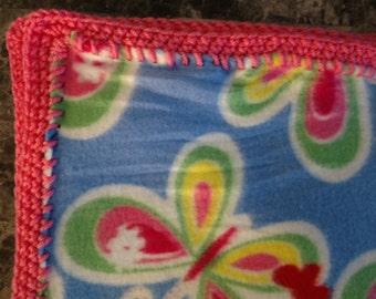 Butterfly crochet edge fleece blanket