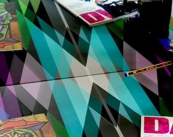 Geometric Square Table - Vintage Table -  Seventies desk - Modernism Table