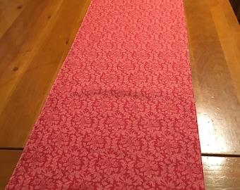 Table runner, rectangular, reversible, grey, dark pink, dots, circles, floral