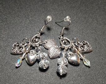 Silver Hearts and Crystal Earrings