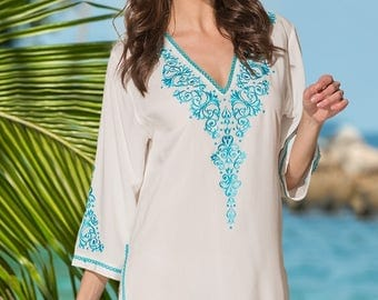 White embroidered tunic top. Cotton/ silk beachwear