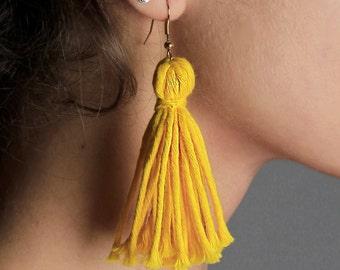 Yellow Earrings Sterling Silver Tassel Earrings Retro Statement Earrings Handmade Colourful Earrings Dangle Drop earrings Long Earrings