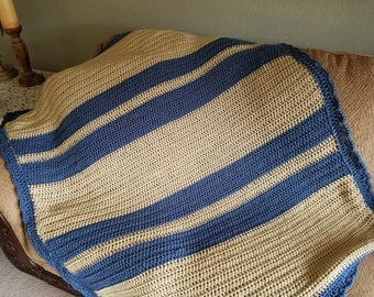"Afghan - Blue and Beige - 60"" x 50"" Great Size for a Crib"
