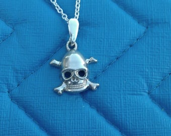 Sterling Silver Skull and Cross Bones Necklace