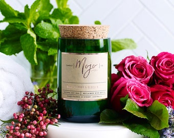 Rose, Pepper & Black Mint - Reclaimed Wine Bottle Soy Candle - Hand Poured